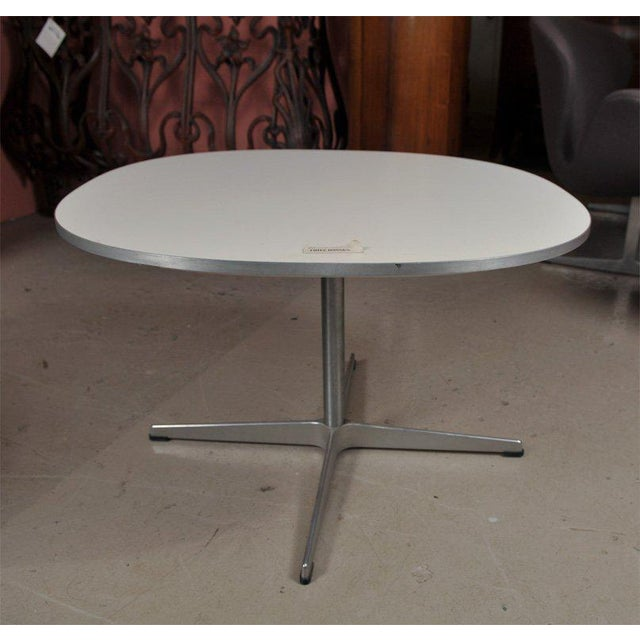 Pair of original Fritz Hanson space end tables, designed by Piet Hein and Bruno Mathsson, on chrome bases. Comes with...