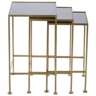 French Brass Nesting Tables, 1960s - Set of 3 For Sale