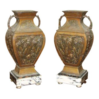 Big Pair of French Art Deco Vase With Marble Base Circa 1935s For Sale