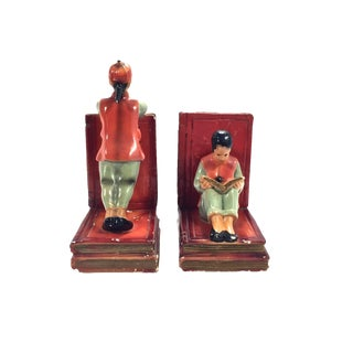 1940s Chinese Couple Bookends, a Pair For Sale