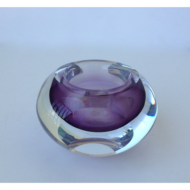 Contemporary Italian Murano Sommerso Purple & Clear Bowl For Sale - Image 3 of 11