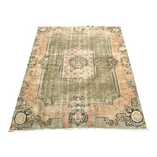 Antique Turkish Oushak Large Pale Peach and Sage Wool Rug - 6′5″ × 9′5″ For Sale