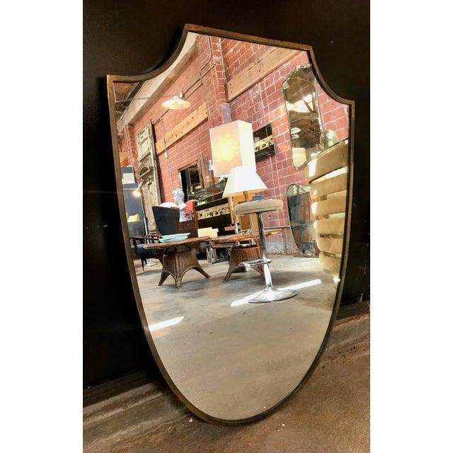 Italian Brass Frame Italian Shield Mirror, 1950s For Sale - Image 3 of 9