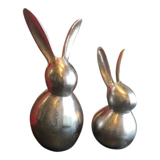 Contemporary Modernist Bunny Rabbit Sculptures - A Pair For Sale