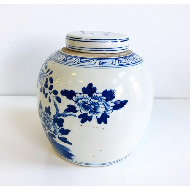 Fabulous medium scale round shaped blue and white chinoiserie porcelain style ginger jar with round lid- with bird in...
