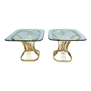 Italian Morex Glass End Tables - a Pair For Sale