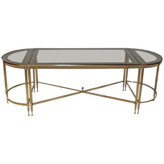 French Jansen Style Three-Piece Brass Cocktail Table For Sale