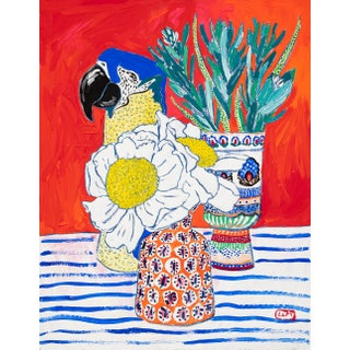 Parrot Vase Floral Still Life With Giant Fried Egg Poppy Flowers on Orange Red Painting For Sale