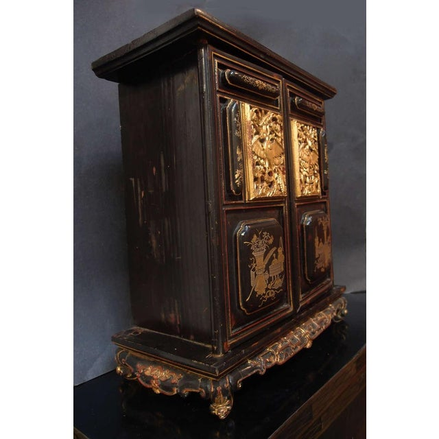 Asian A Chinese Lacquered and Gilt Shrine For Sale - Image 3 of 7