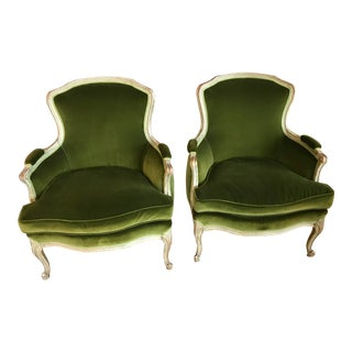 Pair of Vintage Hand Painted Green Velvet French Bergere Chairs For Sale