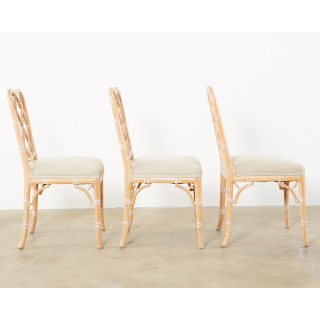 Chinese Faux Bamboo Chinese Chippendale Dining Chairs - Set of 3 For Sale - Image 3 of 13