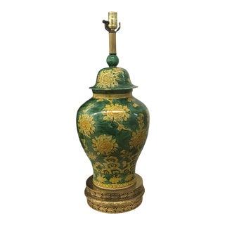 Lamp - Asian Green Glaze Ginger Jar Lamp For Sale