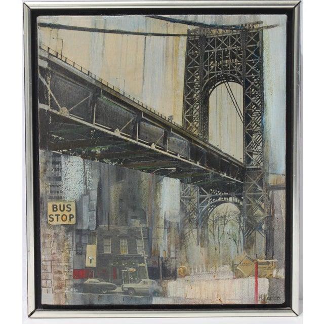 "Mid-Century M. Kaplan ""Brooklyn Bridge"" Oil on Canvas Painting For Sale - Image 11 of 11"