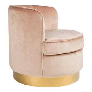 Hollywood Regency Style Brass Base Velvet Tube Chair