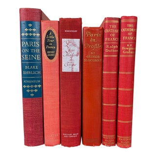 Vintage Red Books on French History and Culture - Set of 6 For Sale