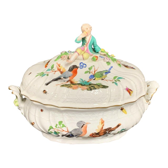Antique 1750 Meissen Porcelain Tureen with Birds, Insects, Flowers and Boy Finial For Sale