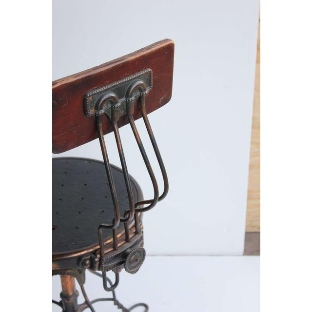 Early 20th Century Antique Copper Swivel Desk Chair For Sale - Image 5 of 6