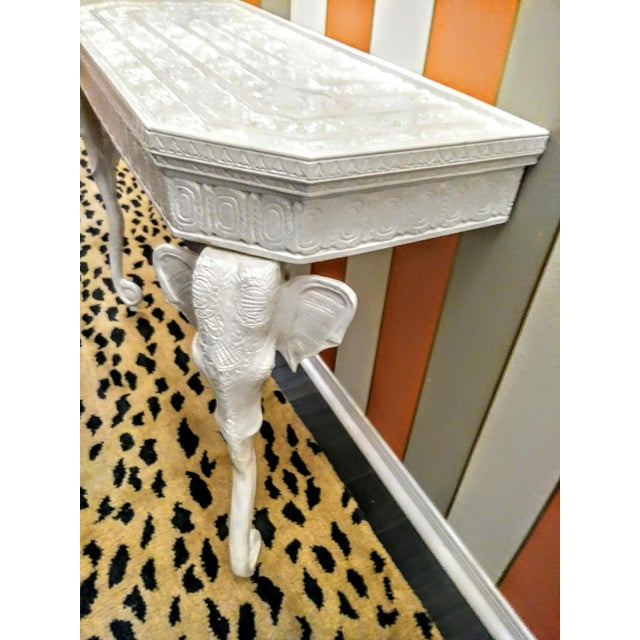 A gorgeous vintage Demi-lune Gampel-Stoll style Elephant hall table done in white high gloss. This table has amazing...
