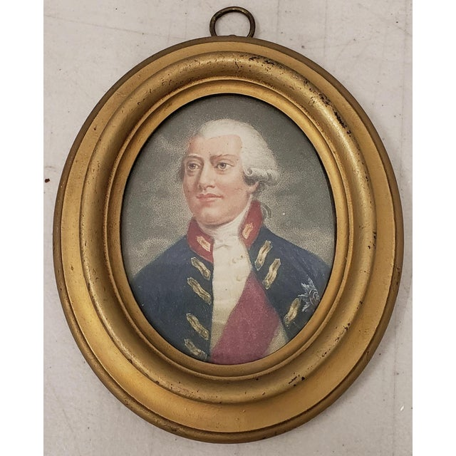 Paper Early 19th Century Hand Colored Miniature Portrait Engraving of King George III C.1804 For Sale - Image 7 of 7