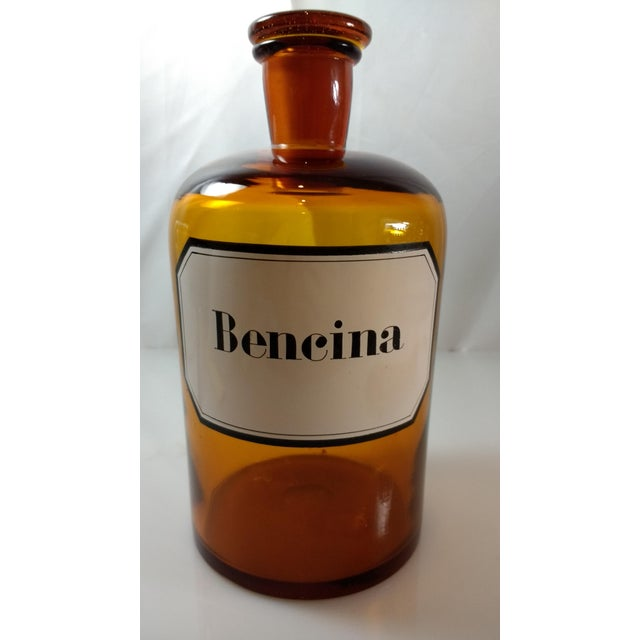Vintage Amber Glass Bencina Apothecary Bottle - Image 3 of 10