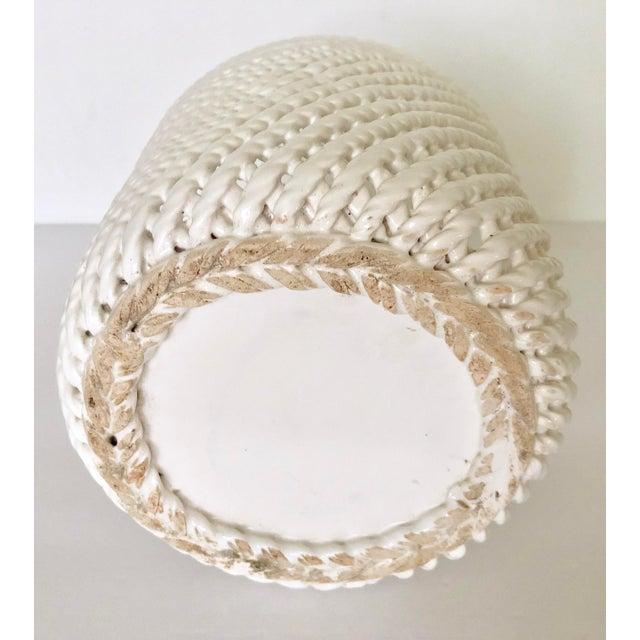 Vintage White Ceramic Lattice Flower Pot For Sale - Image 10 of 11