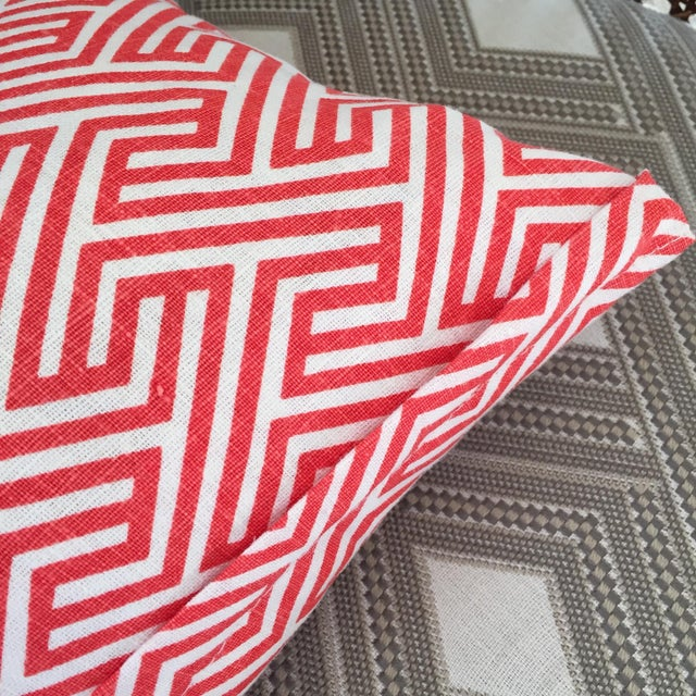 Flamingo Orange Graphic Geometric Kidney Pillow Cover For Sale - Image 5 of 6