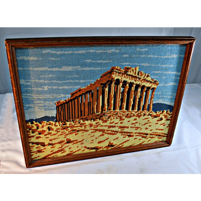 Antique Greek Parthenon Needlepoint For Sale - Image 4 of 5