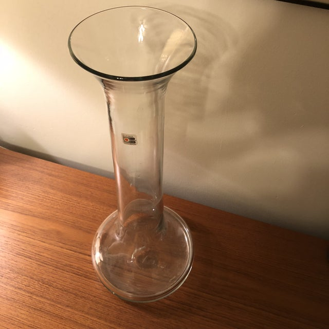 "Very unique Blenko piece. This tall 21"" Vase could be used as shelf decor or a floor vase. Has a really neat science tool..."