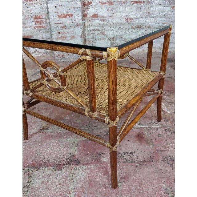 McGuire Bamboo & Glass Top Side Lamp Tables - A Pair For Sale In Los Angeles - Image 6 of 11