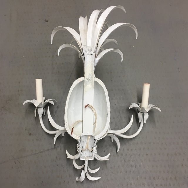 Pineapple Tole Candle Wired Wall Sconces - a Pair For Sale - Image 9 of 10