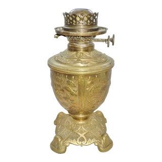 Antique 19th Century A. A. Vantine & Co. Brass Chinese Design Oil / Kerosene Lamp For Sale