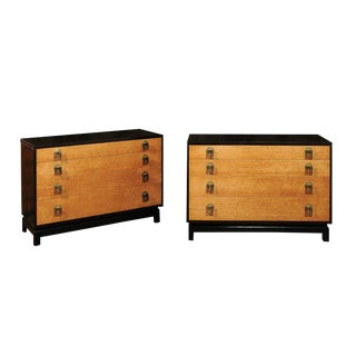 Breathtaking Pair of Chests by Renzo Rutili in Cerused Oak and Bird's-Eye Maple For Sale
