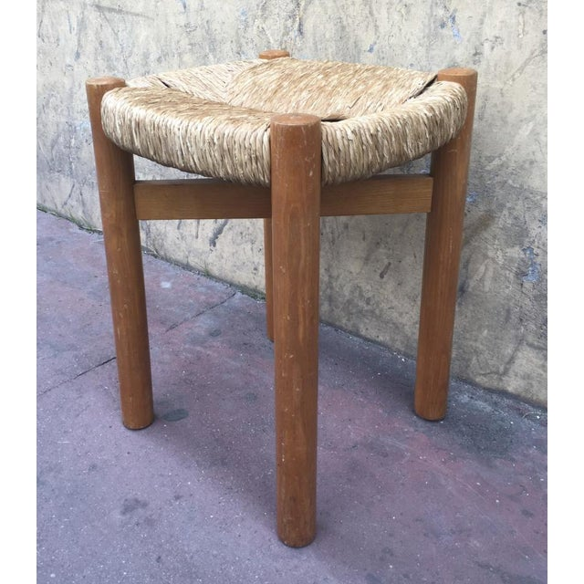 Charlotte Perriand Pair of Charlotte Perriand Rush Stools Model Meribel For Sale - Image 4 of 7