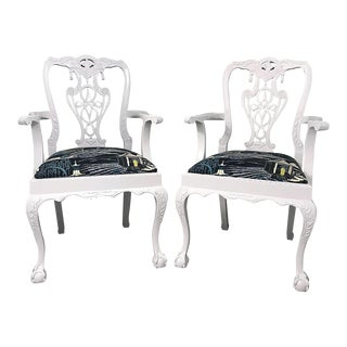 Chippendale Lacquered and Robert Allen Neo Toile Upholstered Chairs - a Pair For Sale