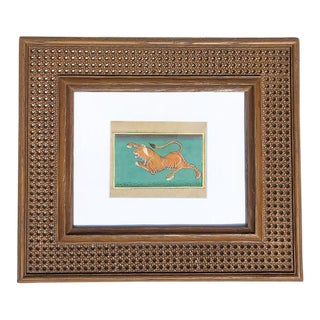 1950s Vintage Framed Faux Cane Indian Tiger Painting From India For Sale