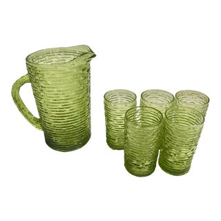 Mid-Century Modern Faux Bamboo Pitcher & 5 Drinking Glasses For Sale