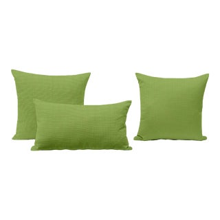 Green Outdoor Throw Pillows - Set of 3 For Sale