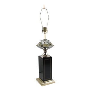 1960s Maison Charles Paris Brass and Black Enamel Table Lamp Crystal Fruits For Sale
