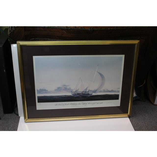 Print based upon the painting done by John Mecray of the Concordia Yawls in purple mat, gold distressed frame, and covered...