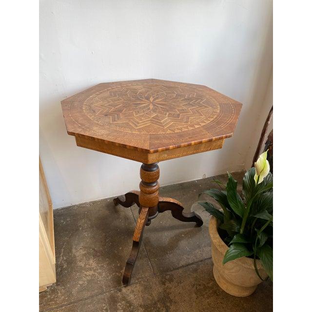 Chestnut Antique Louis XV Parquet Octagonal Side Table For Sale - Image 8 of 8