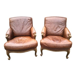 1990s Vintage Italian Leather Arm Chairs - a Pair For Sale