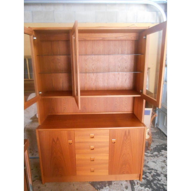 Mid-Century Danish Modern Two Piece China Display Cabinet For Sale - Image 9 of 10