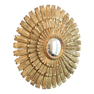 Antique Italian Gold Giltwood Sunburst Mirror