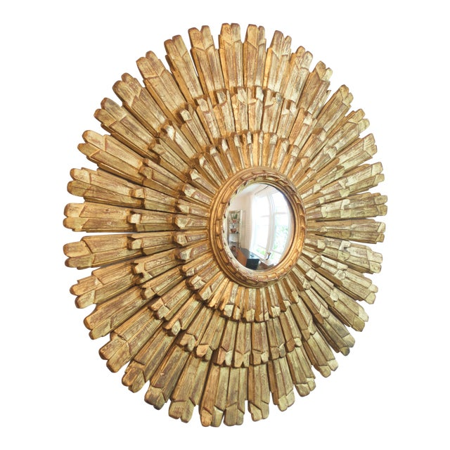 Antique Italian Gold Giltwood Sunburst Mirror For Sale