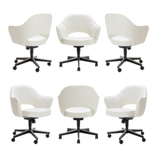 Saarinen Executive Arm Chairs in Ivory Basket Weave, Swivel Base - Set of 6 For Sale