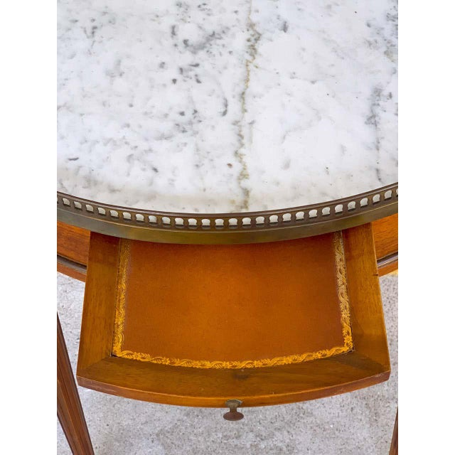 Metal Louis XVI Style Carrera Marble-Top Bouillotte Table, Stamped Made in France For Sale - Image 7 of 10