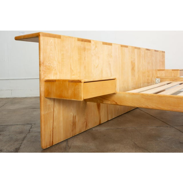 Wood Maple Platform California King Bed With Floating Nightstands by Gerald McCabe For Sale - Image 7 of 13