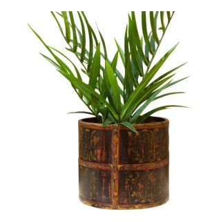 Rustic Painted Barrel Planter For Sale