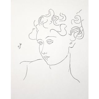 """Woman With Flying Curls"" Minimalist Inspired Charcoal Drawing by Sarah Myers For Sale"