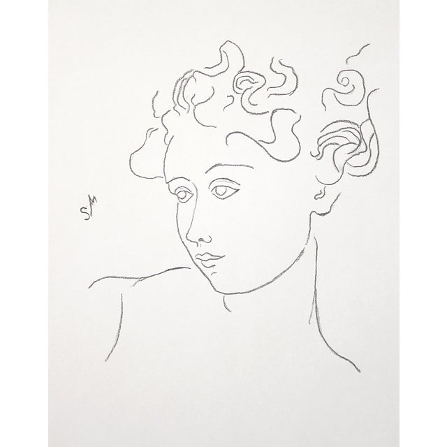 """""""Woman With Flying Curls"""" Minimalist Inspired Charcoal Drawing by Sarah Myers For Sale"""
